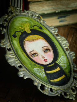 Inspired by the son of Danita, a little boy in bee costume is a cute spring painting