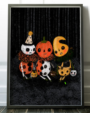 Original poster print reproduction art of Danita Art illustration. Halloween ghosts witches pumpkins skeletons and vampires together in an amazing halloween illustration for your home decor.