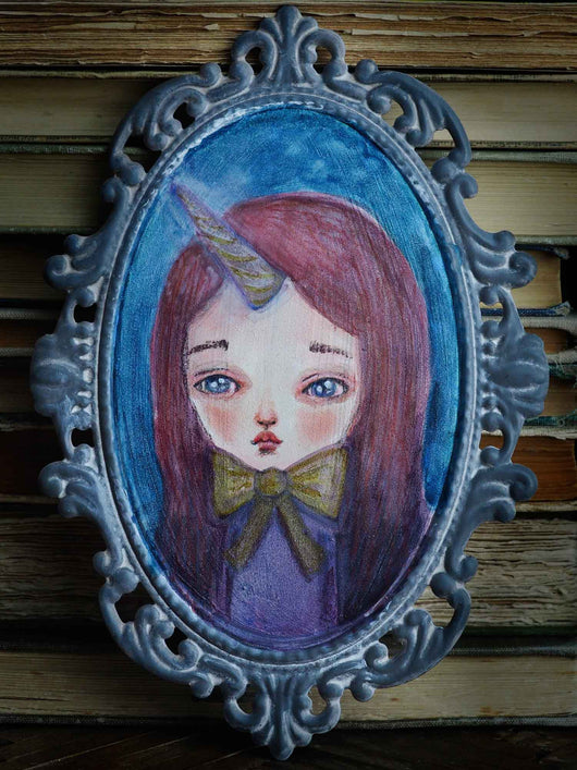 Unicorn girl original watercolor painting by Danita Art