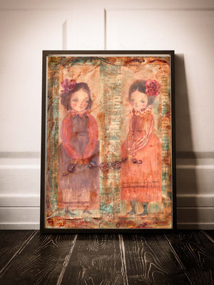 An original watercolor and mixed media painting created by Idania salcido the artist behind Danita Art with two girl portraits made in mixed media collage artwork, along with details and collage applications from vintage book pages.