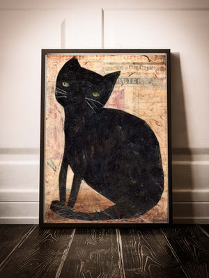 Black cats are called voids. This adorable mixed media collage pet cat painting was created by Idania salcido, the artist behind Danita Art