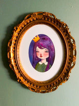 An original watercolor painting by Danita. A princess with the stars in her purple hair.