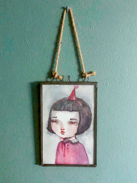 Danita original watercolor painting on paper. Birthday girl gift, perfect whimsical and melancholic one of a kind art.