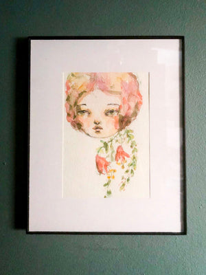 FLORENCE. An original flower girl watercolor painting by Danita, Original Art by Danita Art