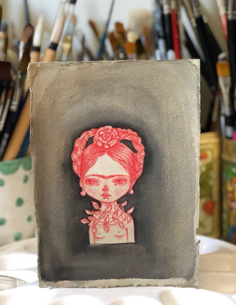 RED FRIDA - Surreal nature mixed media drawing by Danita, Original Art by Danita Art