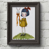 Watercolor bunny rabbit painting by Danita Art. Pop surrealist illustration with whimsical girl portraits.