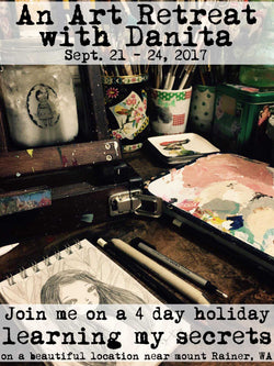 Danita live art workshop classes and retreat, learn mixed media painting, encaustic collage, watercolor painting and hand made art doll making