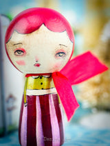 Tiny wood Kokeshi art dolls created by Danita Art