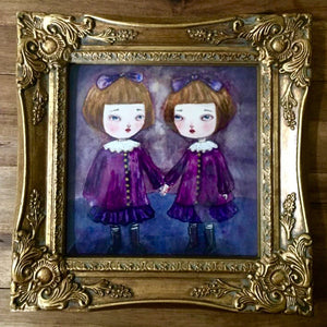 Danita Watercolor Original Painting Halloween Creepy Twins Sisters Redrum Illustration