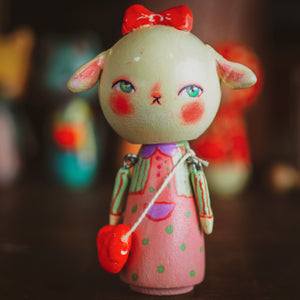 BRIDGET - An original handmade wooden kokeshi art doll by Danita, Miniature Dolls by Danita Art