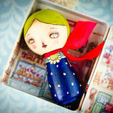 Midnight Blue Winter Kokeshi with Tin House