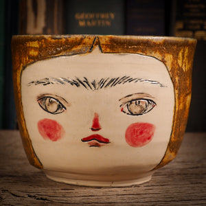 this is an original handmade glazed stoneware ceramic bowl by Idania Salcido the artist behind Danita Art, with Frida Kahlo hand sculpted on it, this is a unique and original home decoration one of a kind kitchenware piece.