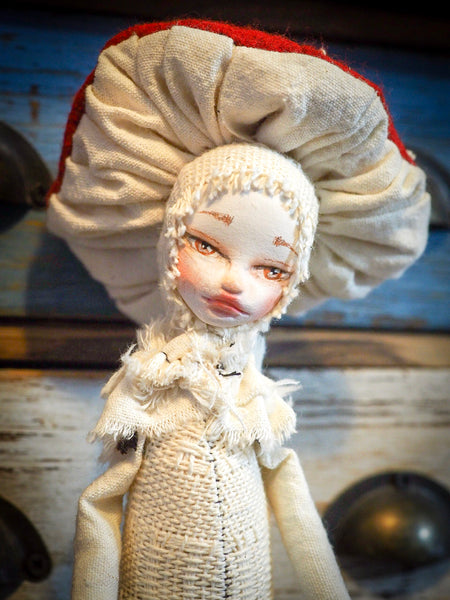 THE MUSHROOM - An original handmade art doll by Danita Art, made with original patterns, organic fabric dyed using only natural ingredients like avocado peels, walnuts and marigolds. Each mini art doll in this toy collection is a mini work of huggable fabric art that will be treasured by any collector of Danita's melancholic and fantastic work.