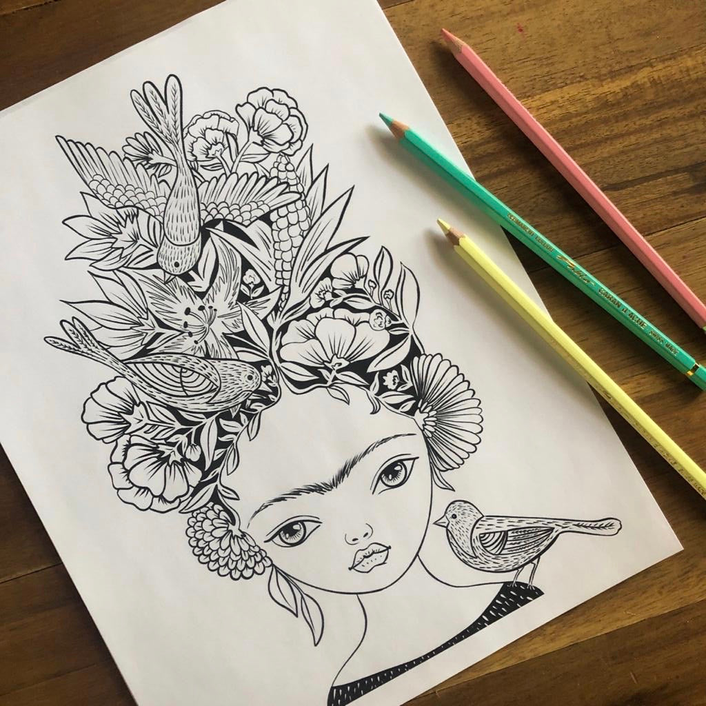 FRIDA AND THE BIRDS - DIGITAL COLORING PAGE