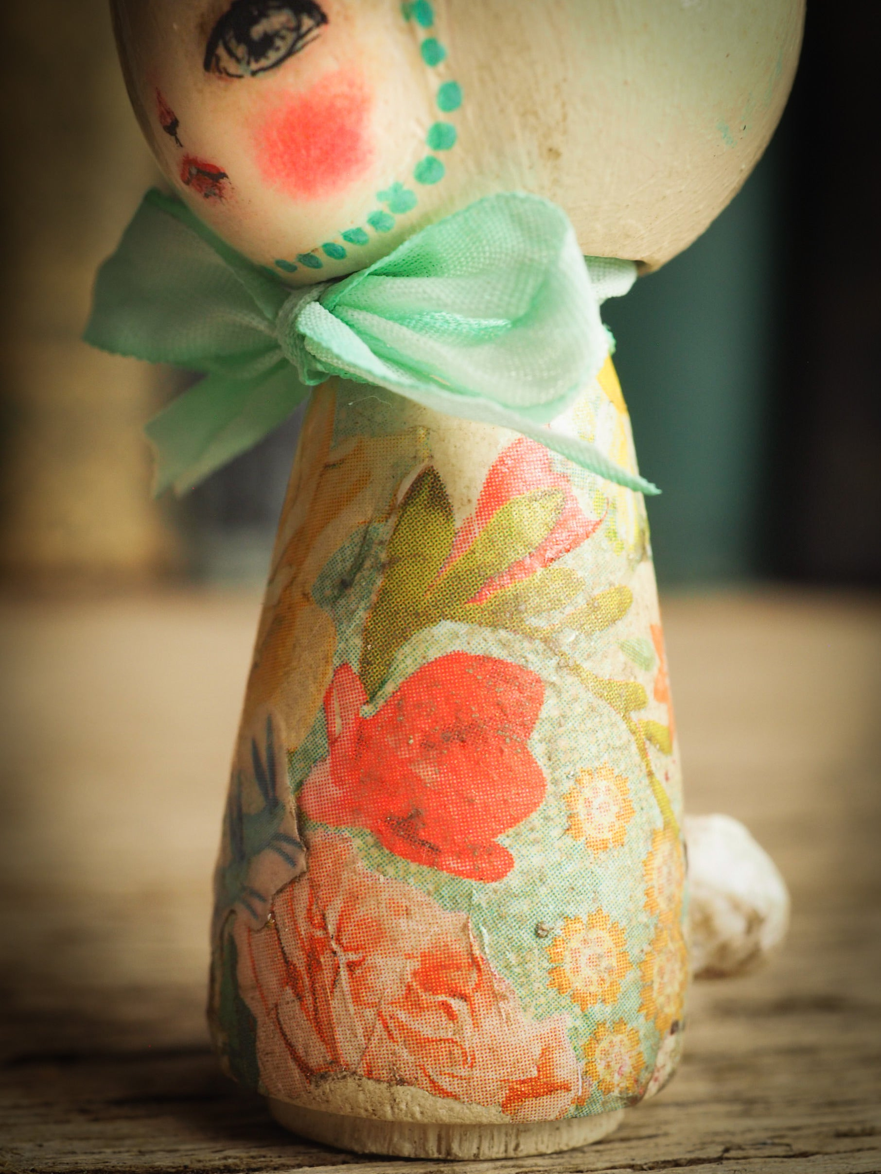 Adorable Easter Bunny Rabbit handmade kokesi wooden mini art doll by Danita Art craft project made with modeling clay silk ribbon and decoupage applications