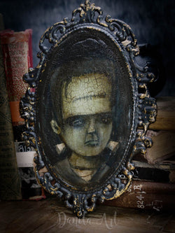 Frankenstein's Monster is painted on this original mixed media painting by Danita Art.