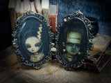 Frankenstein and his bride are a beautiful set of paintings created by Danita Art