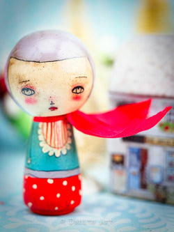 Adorable and tiny Kokeshi art doll by Danita art