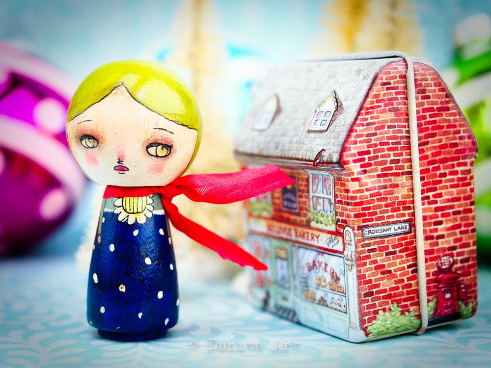Midnight Blue Winter Kokeshi with Tin House, Miniature Dolls by Danita Art