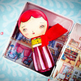 This Kokeshi doll by Danita can be stored in her special house container