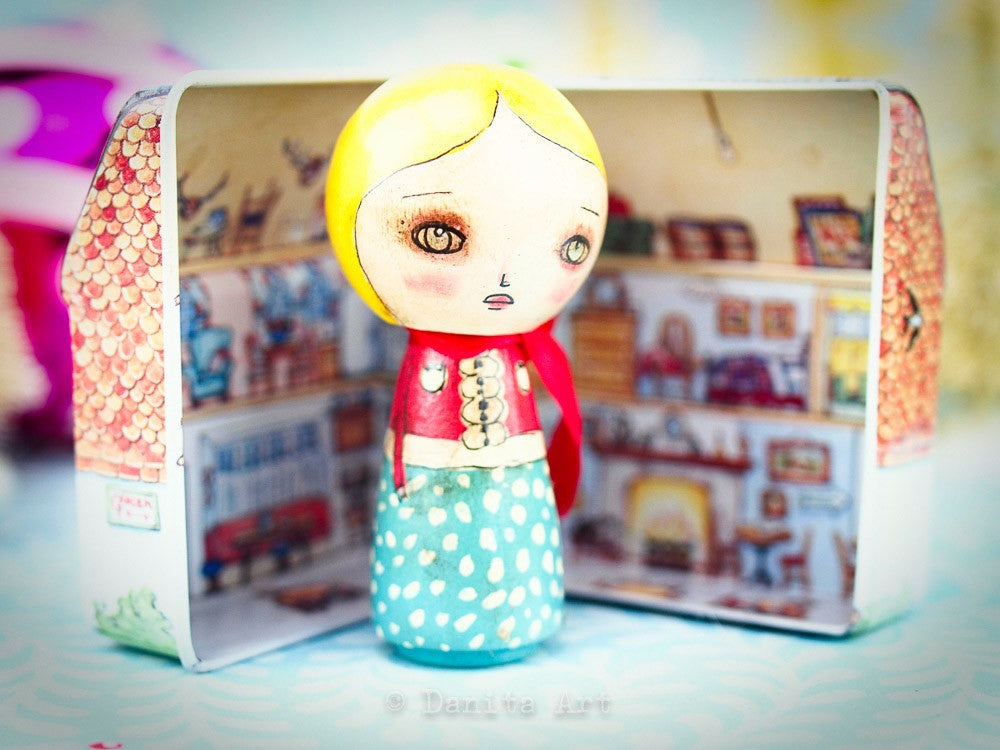 Turquoise Winter Kokeshi with Tin House, Miniature Dolls by Danita Art