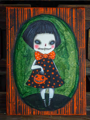Original ghoul pumpkin jack-o-lantern Halloween ghost girl painting by Danita Art