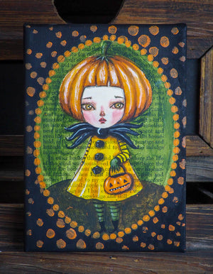 Original mixed media watercolor acrylic and pastel Halloween jack-o-lantern pumpkin girl painting by Danita Art