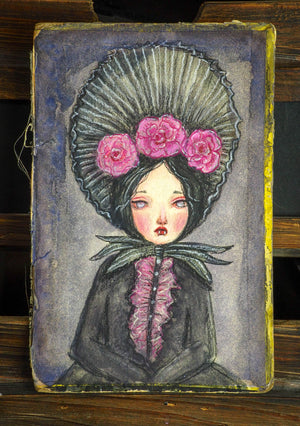 A beautiful mixed media watercolor painting by Danita, inspired by vampire lady Mina and her dreadful story with Dracula.