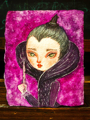 THE SORCERESS - An original watercolor on rough paper by Danita Art