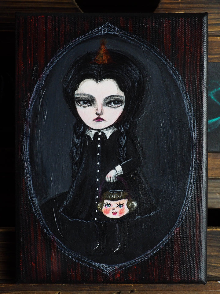 Wednesday Addams as an original mixed media Halloween art painting by Danita Art. The mysterious TV Character from the Addams Family is now a whimsical fan art illustration by Danita.