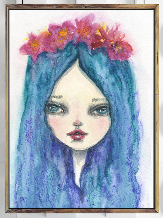 Mother Earth posed for me on this beautiful watercolor painting by me, Danita. Her colorful blue hair contrasts with her delicate red flower crown.