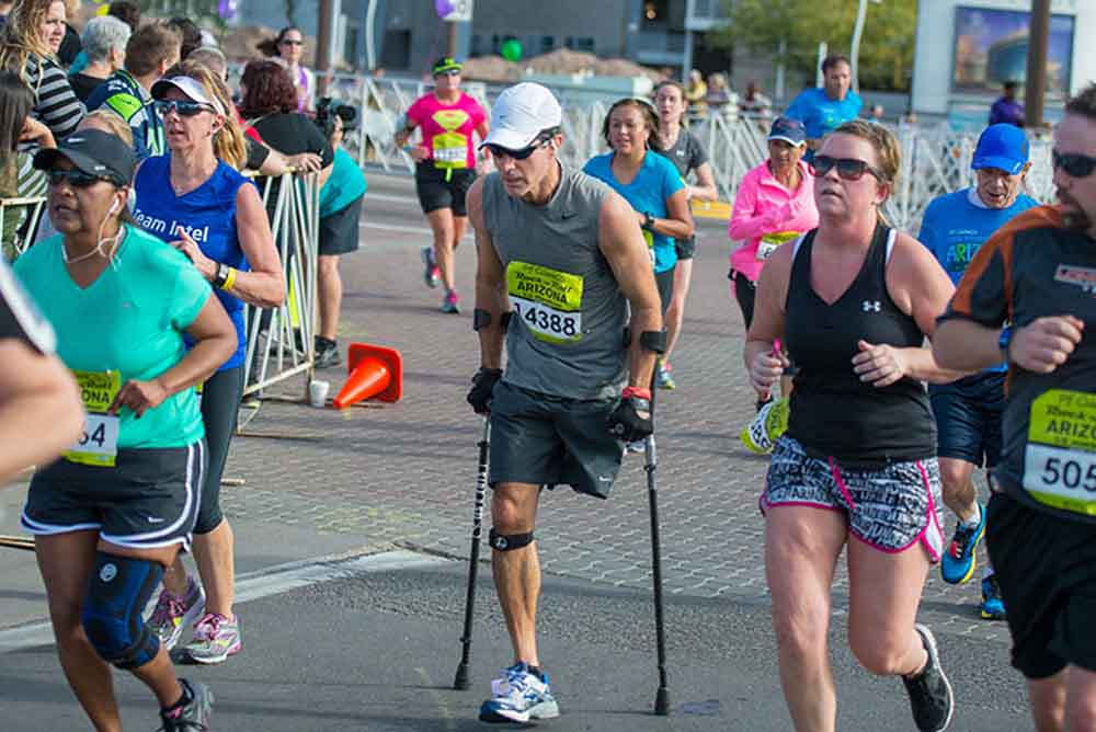 Larry Chloupek II Fastest Marathon on Crutches