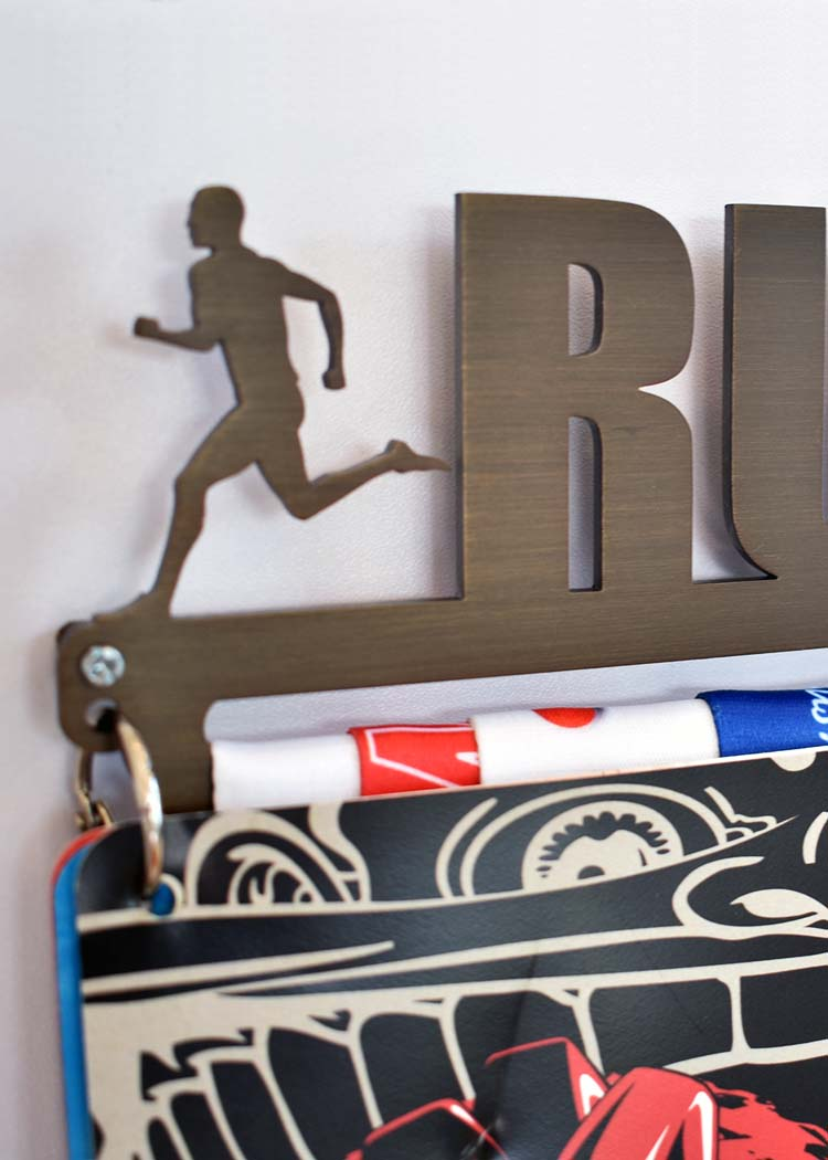 Bronze Plated Race Bib Display for Runners™ V2.0 - Run