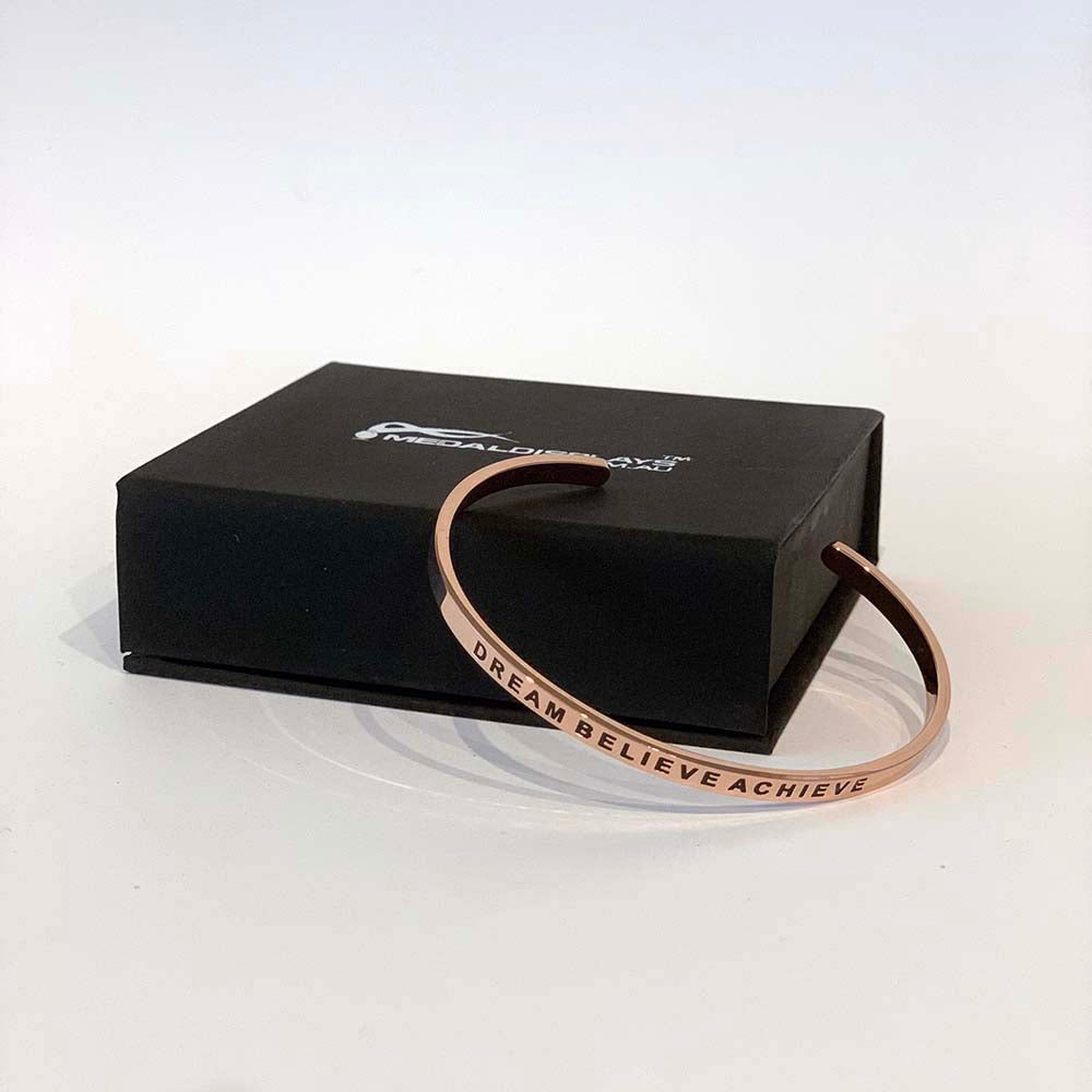 Dream Believe Achieve Bracelet - Rose Gold / Stainless Steel