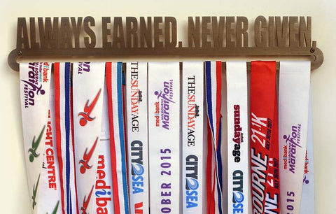 Bronze Plated Medal Display Hanger - Always Earned. Never Given™