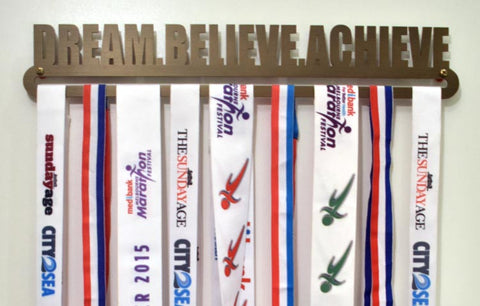 Bronze Plated Medal Display Hanger - Dream. Believe. Achieve.™