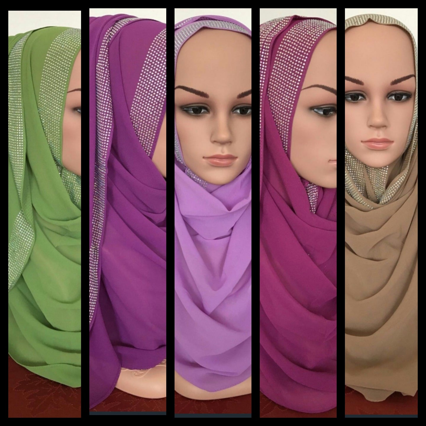Georgette Shawls (5) Bundle Sets
