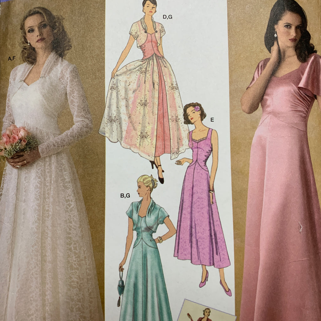 Simplicity 1930s evening dress w jacket sz 8-16 unused *4270