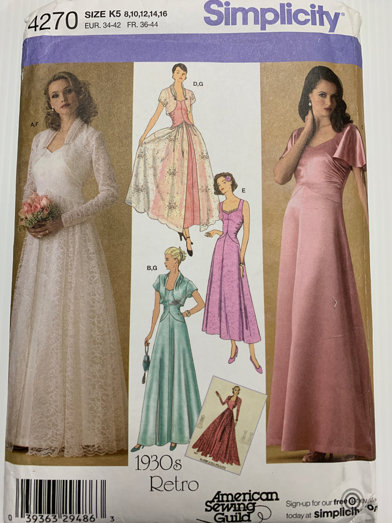 EVENING DRESS & JACKET: Simplicity 1930s reproduced unused *4270
