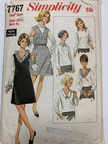 Size 18 1/2 mod jumper and blouses in half size from 1968  *7767