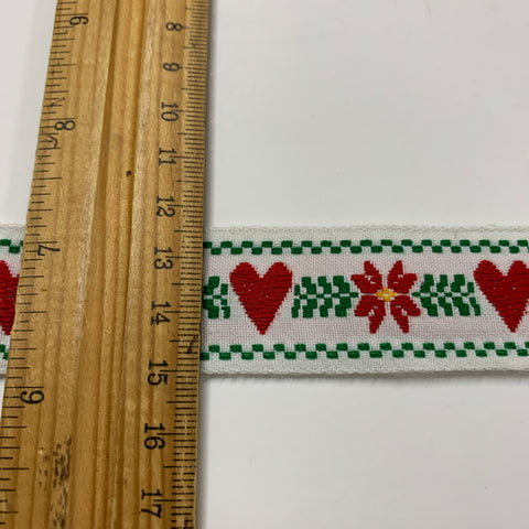 "6m LEFT: 1980s? 1"" Pennsylvania Dutch USA style woven trim hearts flowers 1m+"