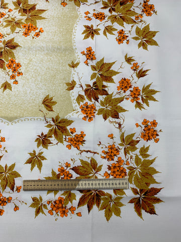 Unused 1960s leaves and floral rayon tablecloth large 128cm x 172cm