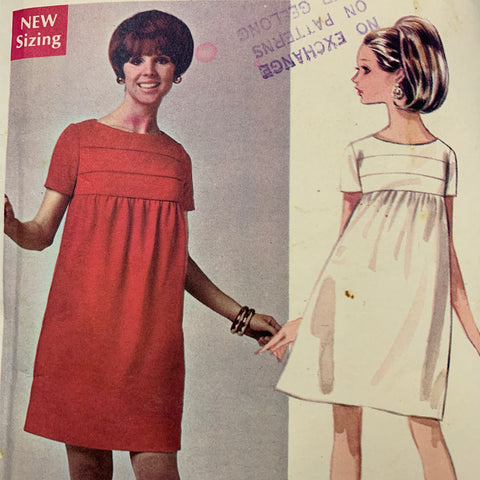 "SHORT DRESS: Empire waist designer dress 1967 complete bust 36"" FF *4692"