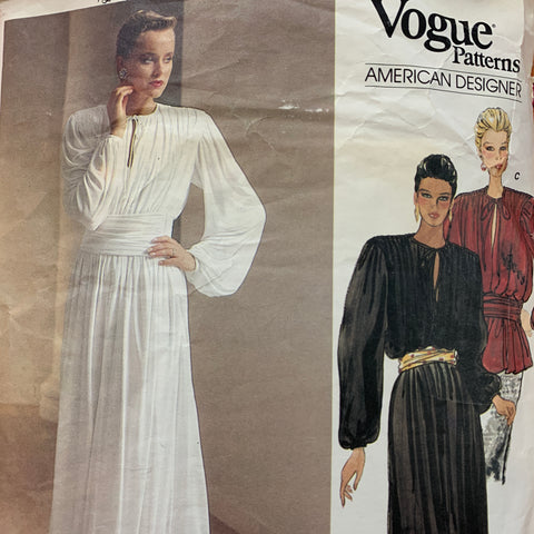 DRESS: Vogue Calvin Klein dress top cummberbund 1980s *1263