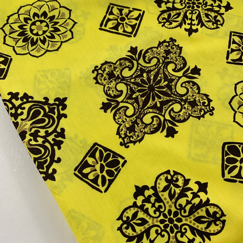 1980s? Bright yellow cotton with abstract retro motifs FQ+