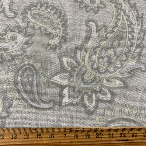 LESS THAN 1m LEFT: Modern medium weight cotton with pale greys greens yellow large paisleys FQ+