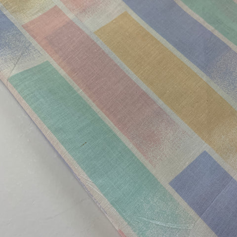 ONE ONLY: Vintage 1980s cotton unused pillowcase w classic pastel stripes 72cm x 48cm