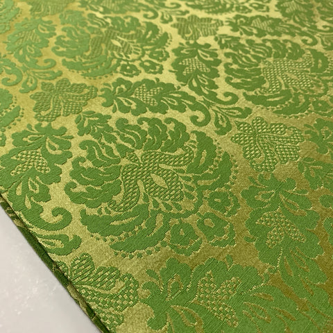 Striking Nouveau style gold pale apple green drapery upholstery 60s? FQ+