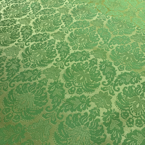 1.5m LEFT: Striking Nouveau style gold pale apple green drapery upholstery 60s? FQ+