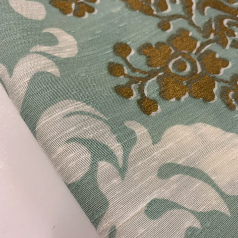 Mid-century antique satin with gold and white scroll work on cyan FQ+